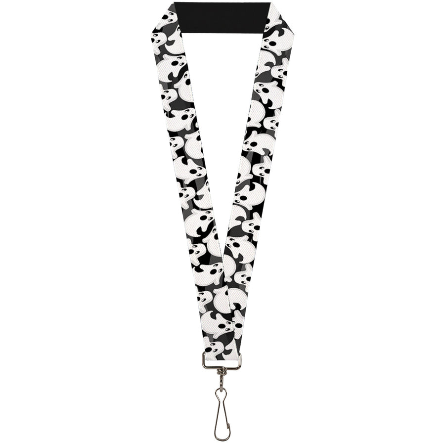 "Lanyard - 1.0"" - Ghosts Scattered Black White"