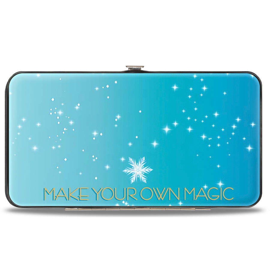 Hinged Wallet - Frozen Elsa Letting It Go Transformation Blocks + MAKE YOUR OWN MAGIC Stars Aqua White Gold
