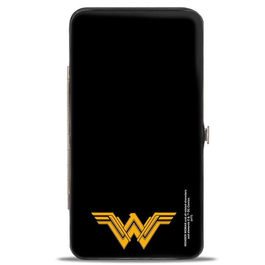 Hinged Wallet - Justice League 2017 Wonder Woman Pose + Icon Black White Gold Gray