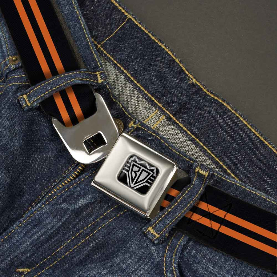 BD Wings Logo CLOSE-UP Full Color Black Silver Seatbelt Belt - Stripe Black/Orange Webbing