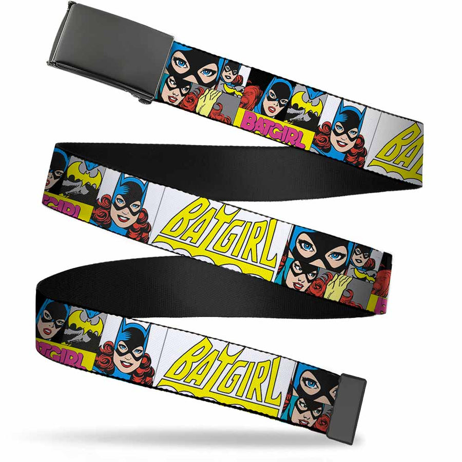 Black Buckle Web Belt - BATGIRL Panels Yellow/Pink Webbing