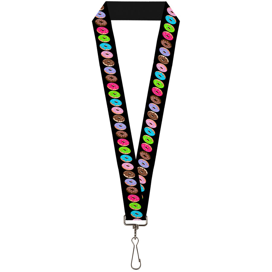 "Lanyard - 1.0"" - Sprinkle Donuts Black Multi Color"