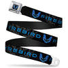 Pontiac Firebird Logo Full Color Black Blues Seatbelt Belt - Pontiac FIREBIRD/Logo Black/Grays/Blues Webbing
