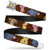 Winnie the Pooh Face Full Color Radial Brown Fade Seatbelt Belt - Winnie the Pooh Character Poses Webbing
