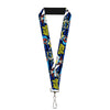 "Lanyard - 1.0"" - BATGIRL Action Poses Bat Logo Black Blue Yellow"