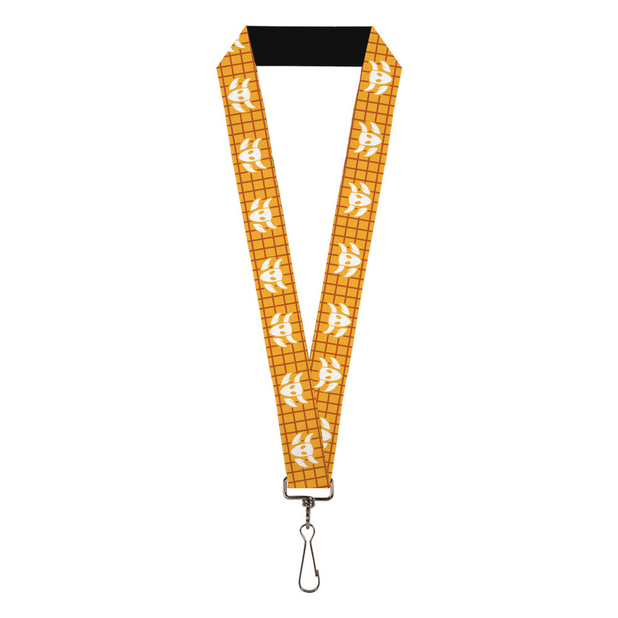 "Lanyard - 1.0"" - Toy Story Woody Plaid Shirt Cowboy Bull Icon Gold Red White"