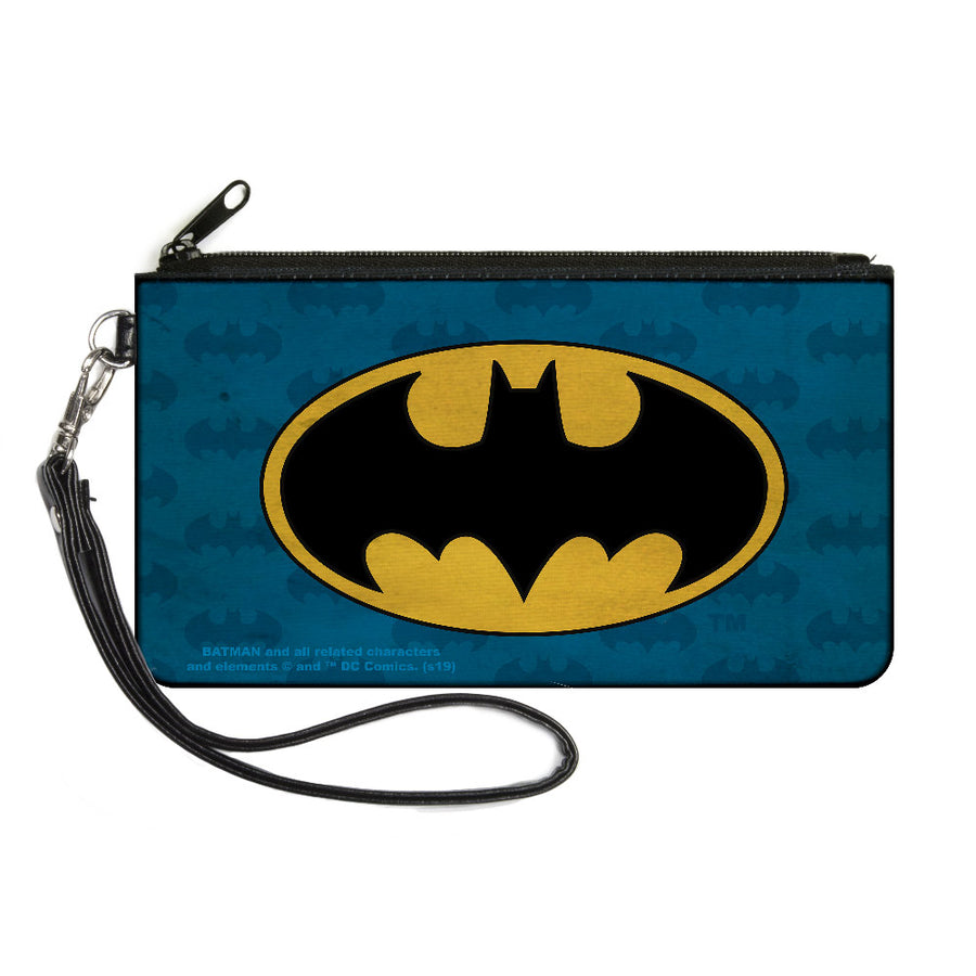 Canvas Zipper Wallet - LARGE - Batman Signal Bat Monogram Distressed Blues Black Yellow