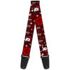 Guitar Strap - Queen of Hearts Poses Hearts Cards Reds Black