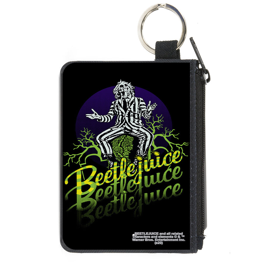 Canvas Zipper Wallet - MINI X-SMALL - BEETLEJUICE Sitting on Tombstone Pose Trees Black Purple Green Yellow
