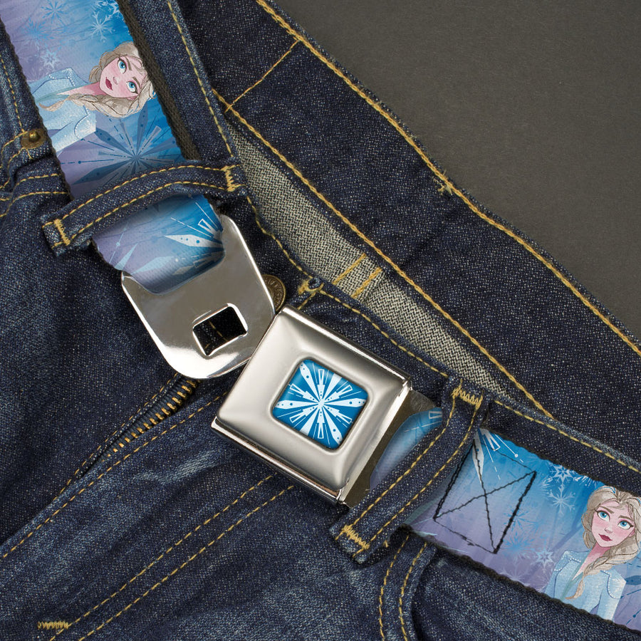 Frozen II Snowflake Full Color Blue/White Seatbelt Belt - Frozen II Mythical Elsa Pose/Snowflakes Blues/Purples Webbing