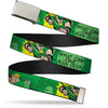 Chrome Buckle Web Belt - GREEN ARROW Poses WHAT CAN ONE MAN DO? Greens/Black Webbing