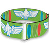 Cinch Waist Belt - Toy Story Buzz Lightyear Bounding Space Ranger Logo Buttons Green White Blue Red