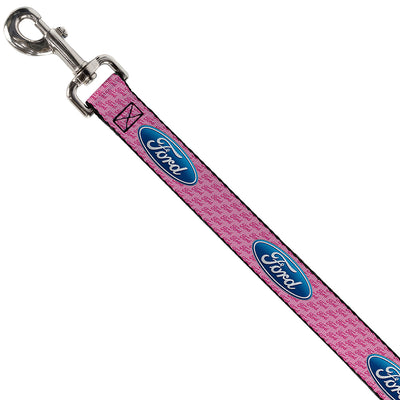 Dog Leash - Ford Oval w/Text PINK REPEAT