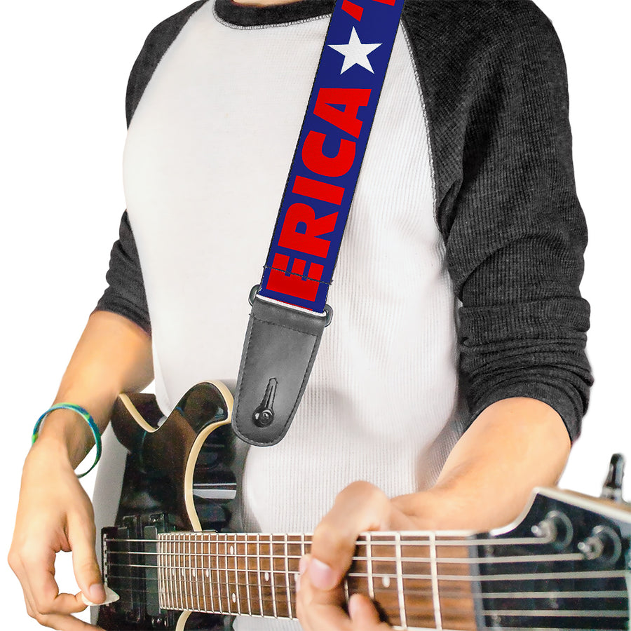 Guitar Strap - MERICA Star Blue Red White