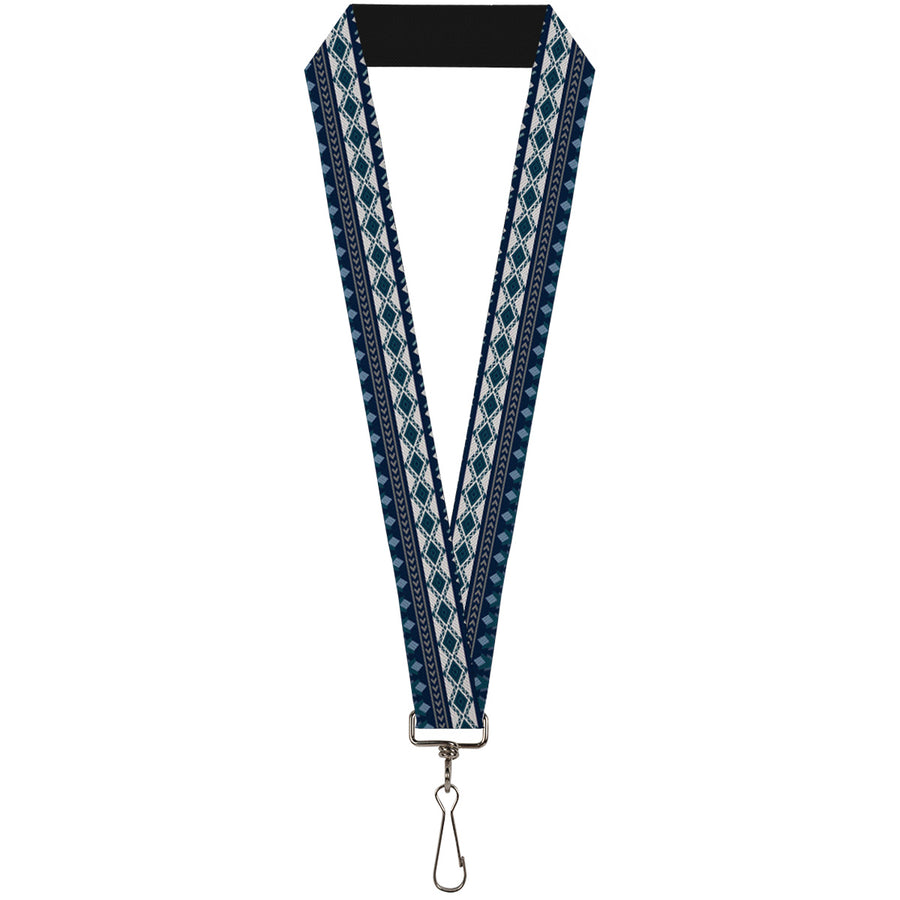 "Lanyard - 1.0"" - Aztec4 Blues White Gray"