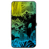 Hinged Wallet - Batman Flying Over Joker Rain Scene Yellow Green Blue Fade Black