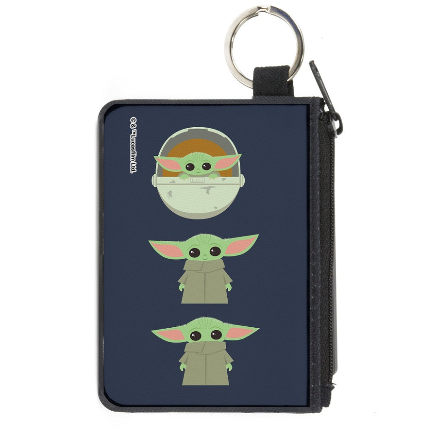 Canvas Zipper Wallet - MINI X-SMALL - Star Wars The Child 3 Chibi Poses Gray