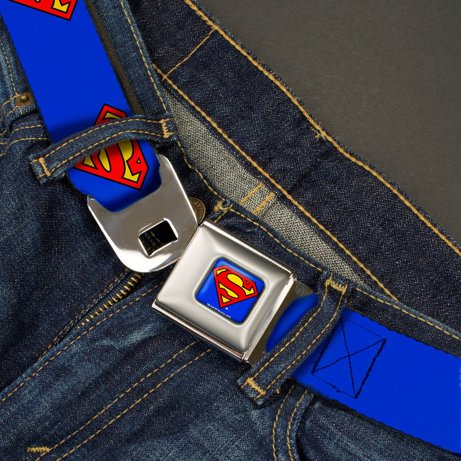 Superman Full Color Blue Seatbelt Belt - Superman Shield Blue Webbing