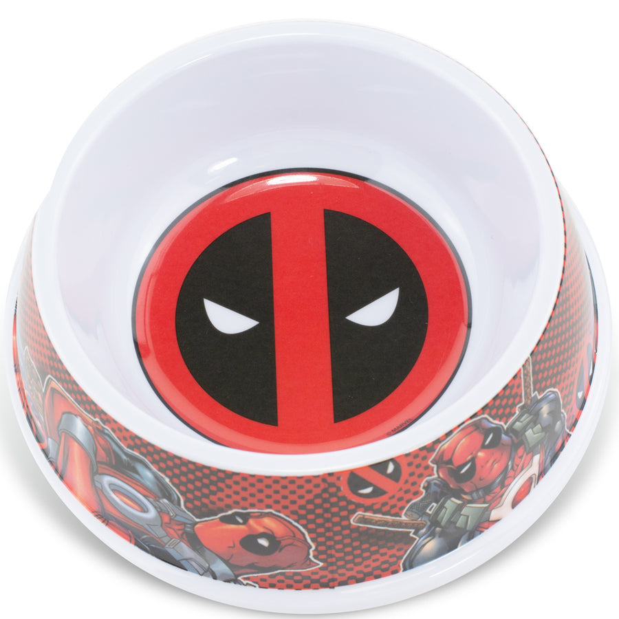 Single Melamine Pet Bowl - 7.5 (16oz) - Deadpool Logo + Deadpool Pose Logo Black Red