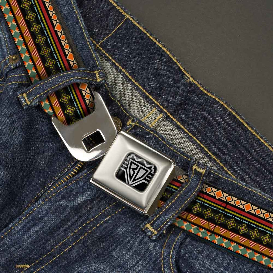 BD Wings Logo CLOSE-UP Full Color Black Silver Seatbelt Belt - Aztec5 Reds/Blues/Greens/Yellows Webbing