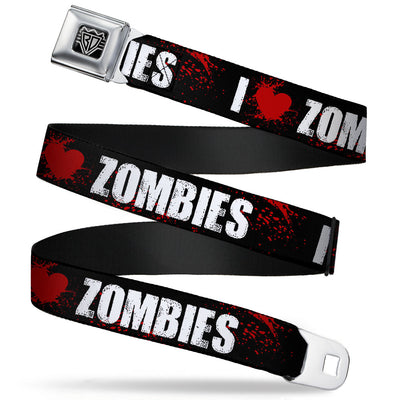 "BD Wings Logo CLOSE-UP Full Color Black Silver Seatbelt Belt - I ""Heart"" ZOMBIES Bold Splatter Black/White/Red Webbing"