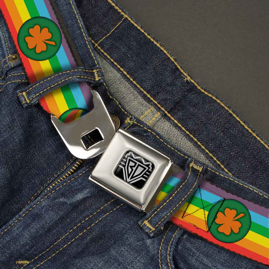 BD Wings Logo CLOSE-UP Full Color Black Silver Seatbelt Belt - St. Pat's Rainbow/Coins Webbing