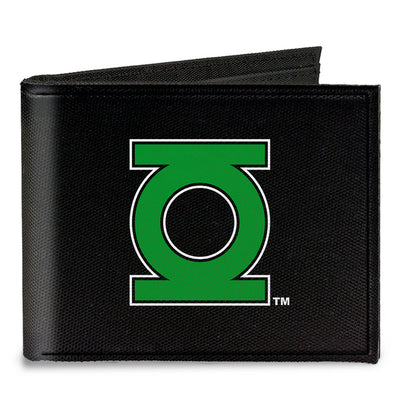 Canvas Bi-Fold Wallet - Green Lantern Logo CLOSE-UP Black Green
