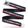 Ford Mustang Emblem Seatbelt Belt - Mustang/Text w/Tri-Bar Stripe Webbing