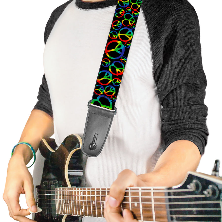 Guitar Strap - Peace Heart Black Rainbow Ombre