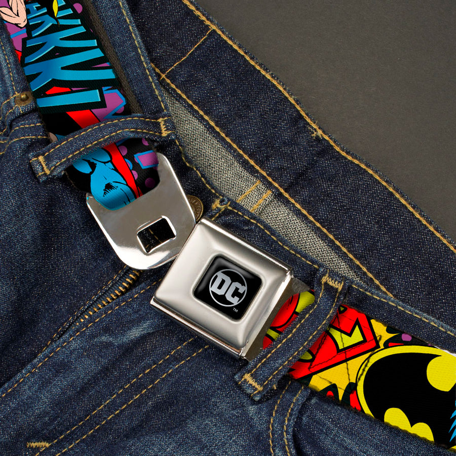 DC Round Logo Black/Silver Seatbelt Belt - Batman/Robin/Superman Pose/Logo Dot Black/Purple Webbing