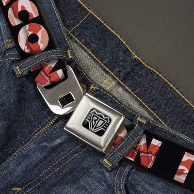 "BD Wings Logo CLOSE-UP Full Color Black Silver Seatbelt Belt - I ""Heart"" BACON Black/Bacon Webbing"