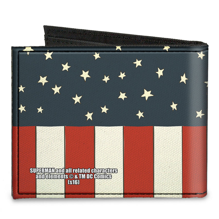 Canvas Bi-Fold Wallet - Superman Shield Americana Red White Blue Yellow
