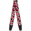 Guitar Strap - Mickey Mouse Poses Scattered Red Black White