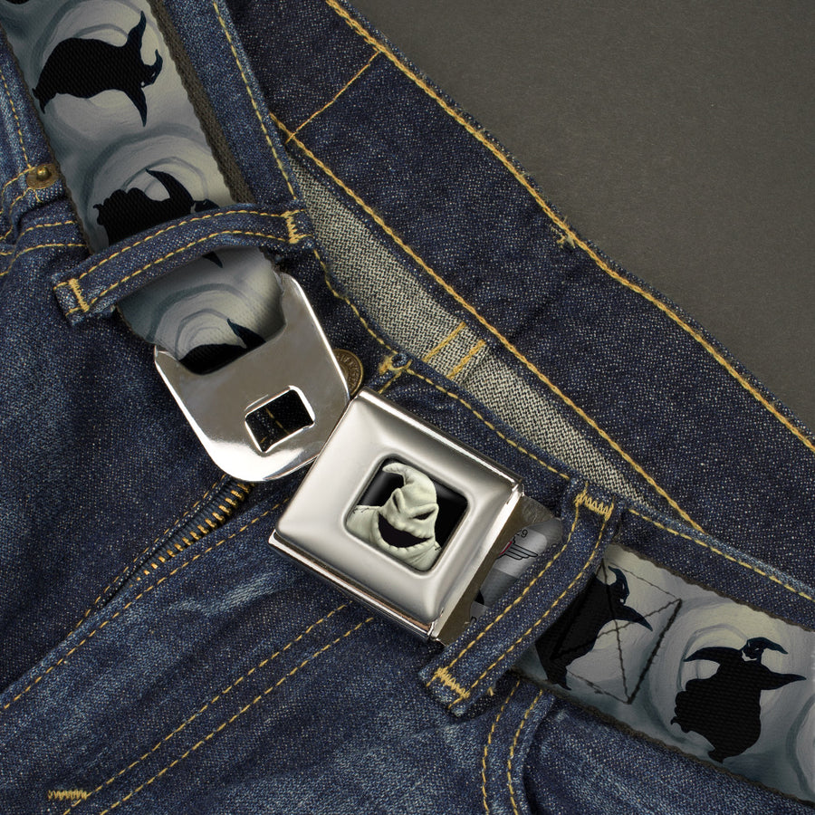 Oogie Boogie CLOSE-UP Full Color Seatbelt Belt - Oogie Boogie Silhouette Poses Gray/Black Webbing