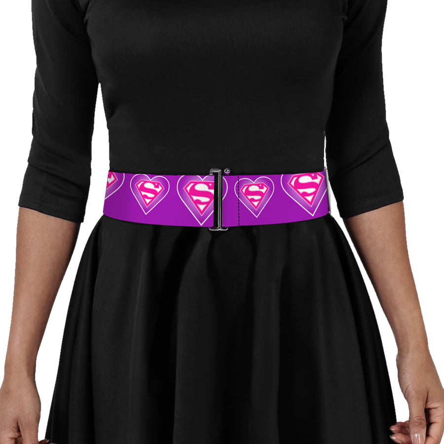 Cinch Waist Belt - Superman Logo in Heart Purple White Pink