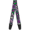 Guitar Strap - Joker Face Logo Spades Black White Purple