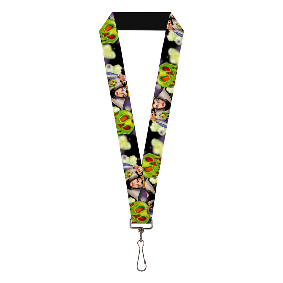 "Lanyard - 1.0"" - Evil Queen Poisoned Apple Pose Poisoned Apple CLOSE-UP Black Greens Purples"