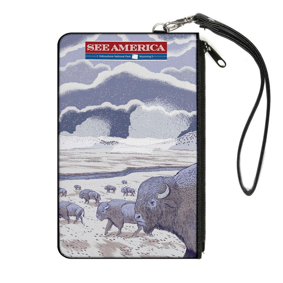 Canvas Zipper Wallet - LARGE - SEE AMERICA-YELLOWSTONE Bison Herd Grays Tans
