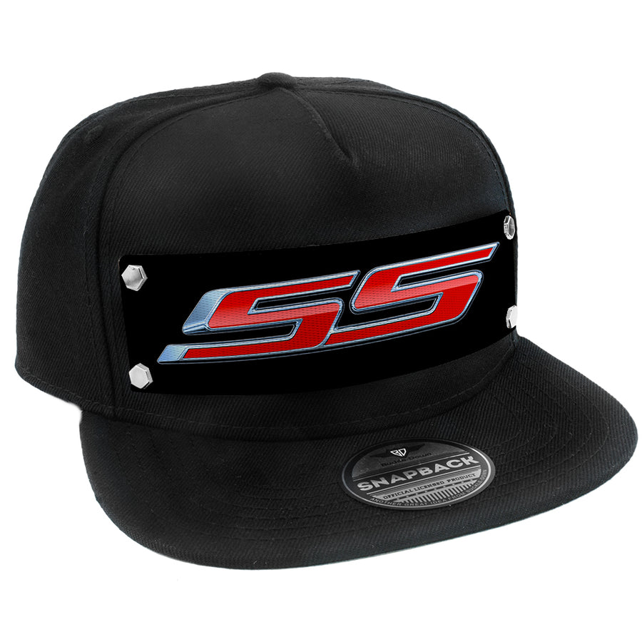 Embellishment Snap Back Hat BLACK - Full Color Strap - Chevrolet SS Emblem Black Silver Red