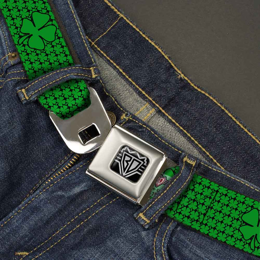 BD Wings Logo CLOSE-UP Full Color Black Silver Seatbelt Belt - St. Pat's Clovers/Green Webbing