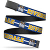 Black Buckle Web Belt - RIVERDALE/Bulldog Mascot Stripe Blue/White/Yellow Webbing