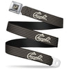 CHEVROLET Heritage Script Full Color Charcoal Tan Seatbelt Belt - CHEVROLET Heritage Script/Stripe Charcoal/Tan Webbing