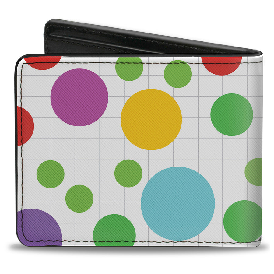 Bi-Fold Wallet - Dots Grid White Gray Multi Color