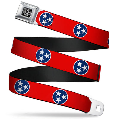 BD Wings Logo CLOSE-UP Full Color Black Silver Seatbelt Belt - Tennessee Flag Stars Red/White/Blue Webbing