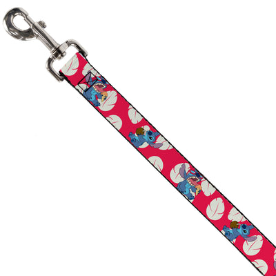 Dog Leash - Lilo & Stitch Stitch 2-Eating Poses/Lilo Dress Leaves Red/Ivory