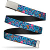 Chrome Buckle Web Belt - Stitch Expressions/Hibiscus Flower/Ukulele Stacked Blues Webbing