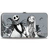 Hinged Wallet - Nightmare Before Christmas Jack & Sally Pose + Zero Sally Jack Cemetery Scene Grays