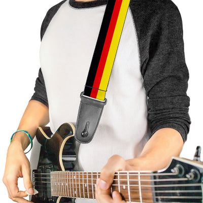 Guitar Strap - Stripes Black Red Yellow