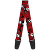 Guitar Strap - Nightmare Before Christmas Jack Poses Bats Red Stripe