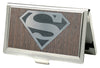 Business Card Holder - SMALL - Superman Logo Marquetry Black Walnut Metal
